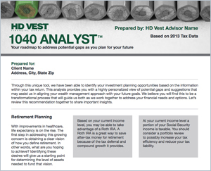 Try the new 1040 Analyst Lite to see a sample client output