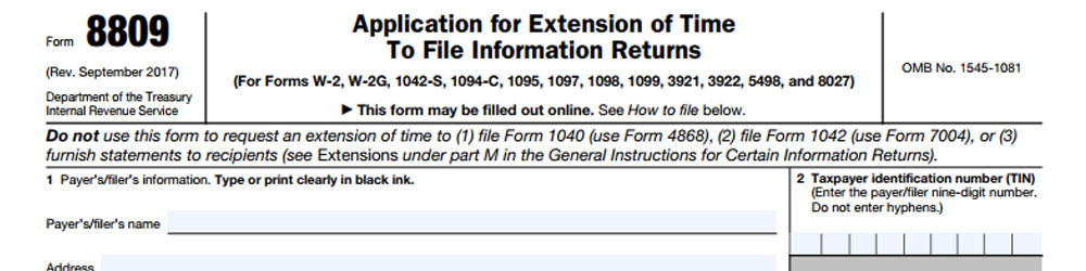 Blog Irs Makes Minor Change To Form 8809 Tax Preparation